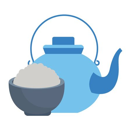 Teapot and rice in bowl cartoon ,vector illustration graphic design.