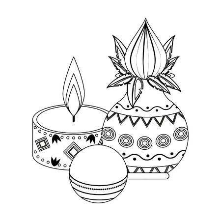 flower vase with close lotus with lit candle and cricket ball icon cartoon vector illustration graphic design