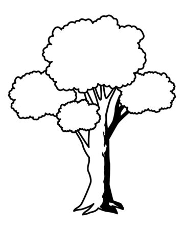 leafy and black and white tree icon with pink foliange isolated cartoon vector illustration graphic design Illusztráció