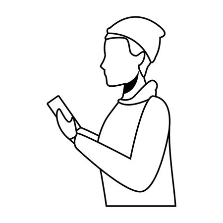 young man upper body with technology device cartoon vector illustration graphic design