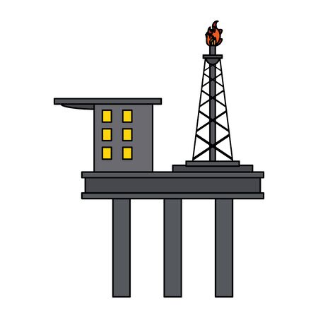 Petroleum oil refinery plant with machinery plataform vector illustration graphic design Çizim