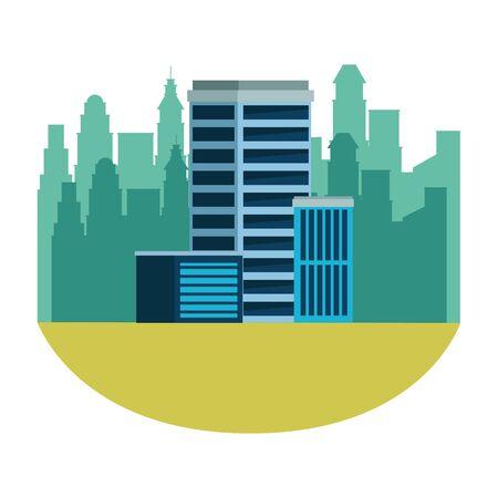 urban buildings construction properties cartoon vector illustration graphic design Иллюстрация
