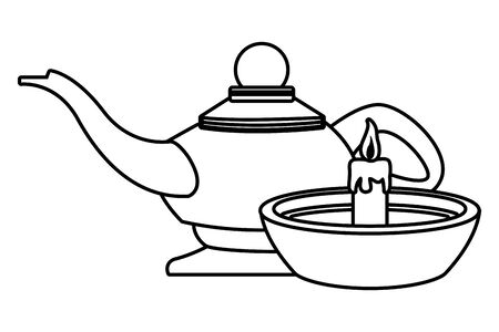 Candle in bowl and magic lamp cartoon vector illustration graphic design 向量圖像