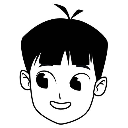 adorable cute young boy face with black hair happy childhood cartoon vector illustration graphic design Stock Illustratie