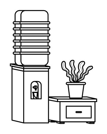 Office workplace elements water dispenser with plant pot on drawer cartoons ,vector illustration graphic design.