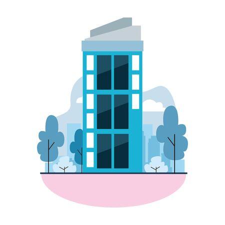 urban building construction property cartoon vector illustration graphic design Иллюстрация