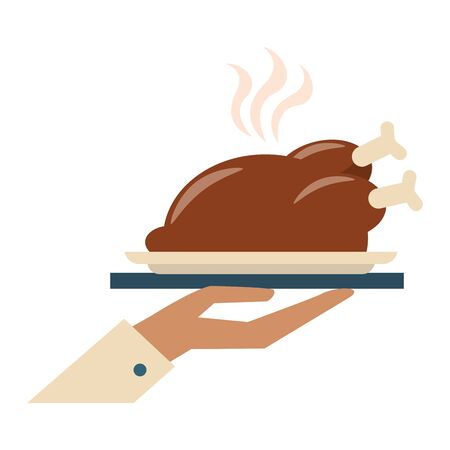 restaurant food and cuisine hand holding a roaster chicken icon cartoons vector illustration graphic design 일러스트