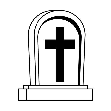 cemetery graveyard halloween isolated icon vector illustration design