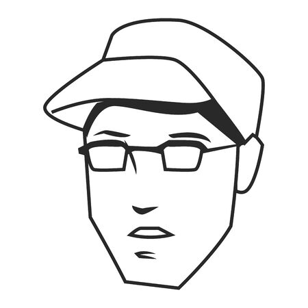 man face avatar wearing glasses and hat in black and white cartoon character vector illustration graphic design