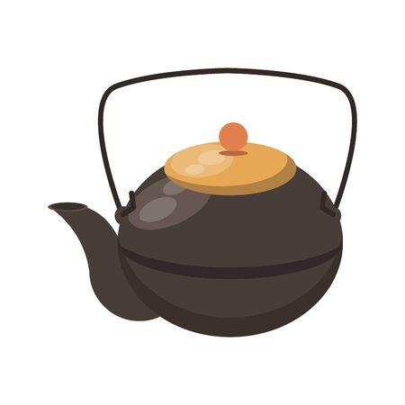 Japanese cast iron teapot icon over white background, vector illustration