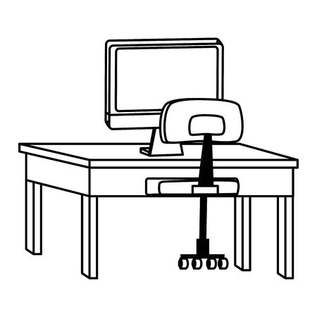 computer on desk with office chair ,vector illustration graphic design.