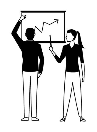 business business people businessman back view pointing a data chart and businesswoman holding a wand pointing a data chart avatar cartoon character in black and white