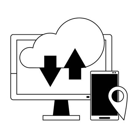 Cloud computing technology smartphone and computer symbols vector illustration graphic design Ilustracja