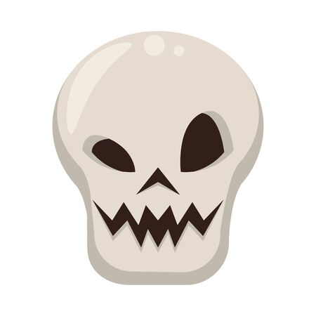halloween october scary celebrationm skull isolated cartoon vector illustration graphic design