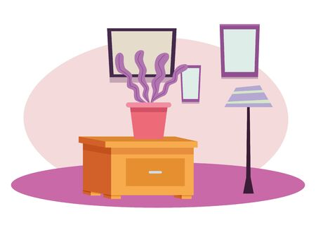 Office workplace elements plant pot on drawer cartoons ,vector illustration graphic design.