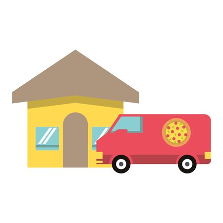 Pizza restaurant and delivery van vector illustration graphic design