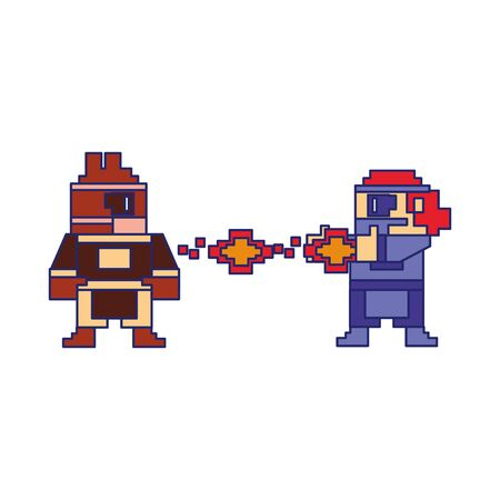 Videogame pixelated gangster character shooting to enemy isolated vector illustration graphic design Çizim