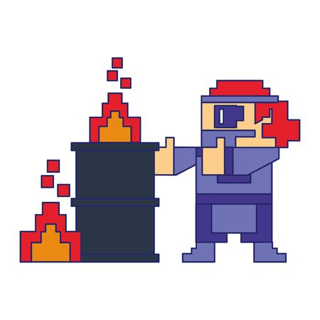 Videogame pixelated gangster character with barrel in fire isolated vector illustration graphic design