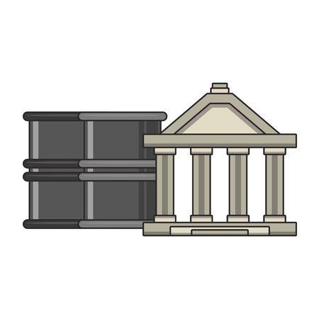Bank building and petroleum barrels symbols vector illustration