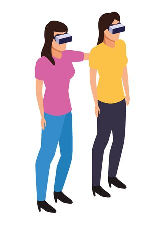 virtual reality technology, young women living a modern digital experience with headset glassescartoon vector illustration graphic design Ilustracja
