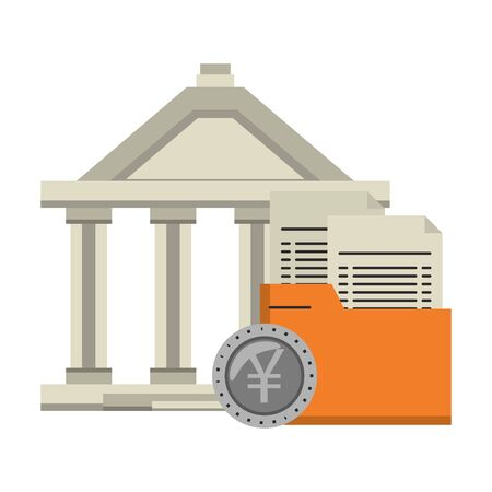 Bank building with folder and yen coin symbol vector illustration Çizim