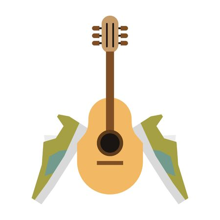 acoustic guitar and green sneakers isolated Vector design illustration Иллюстрация