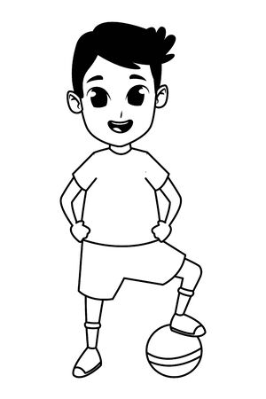 child having fun and playing with ball isolated vector illustration graphic design