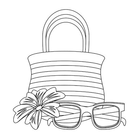 summer beach and vacation with sunglasses, beach bag icon cartoons in black and white vector illustration graphic design