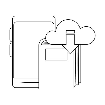 smartphone with cloud storage and book over white background, vector illustration Ilustracja