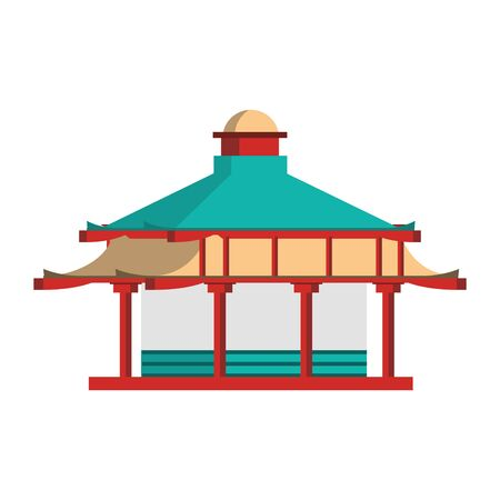 Japanese temple icon over white background, vector illustration
