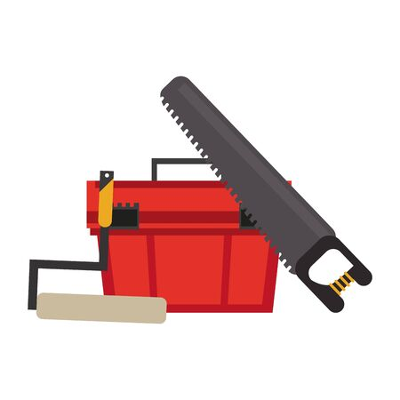 Construction tools toolbox and saw with rolling pin vector illustration graphic design