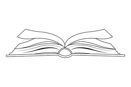 offenes Buch Seitenansicht Symbol Cartoon in Schwarz-Weiß-Vektor-Illustration-Grafik-Design isoliert