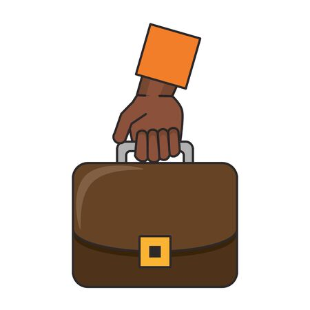 Hand with business briefcase symbol isolated vector illustration Çizim