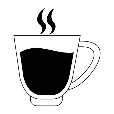 coffee black hot glass cartoon vector illustration graphic design