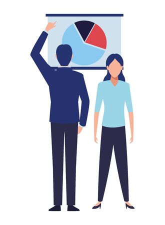 business business people businessman back view pointing a data chart avatar cartoon character vector illustration graphic design
