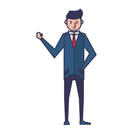 executive business finance man wearing suit cartoon vector illustration graphic design Ilustrace