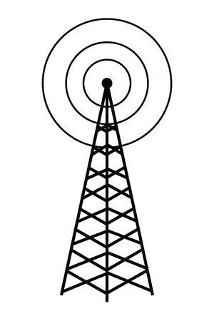 wireless internet and radio technology modern connection telecommunication antenna tower cartoon vector illustration graphic design Ilustração Vetorial
