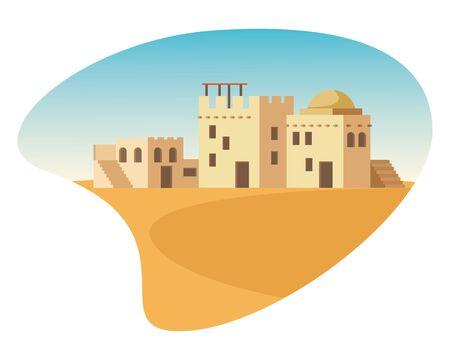 oriental antique aged desert buildings cartoon vector illustration graphic design Illustration