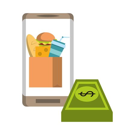Online food order from smartphone hamburger cheese soda and milk in paper bag with cash vector illustration graphic design