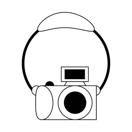 Photographic camera and headphones cartoon vector illustration graphic design