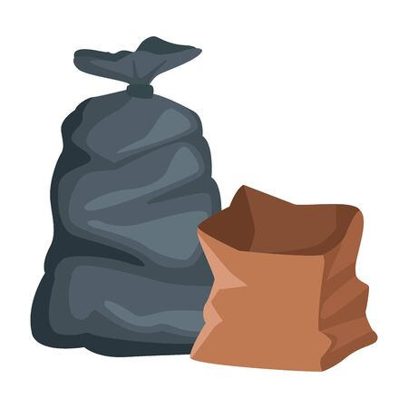 garbage bag and paper bag icon cartoon vector illustration graphic design