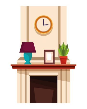 House chimney with lamp plant pot and picture on shelf vector illustration graphic design