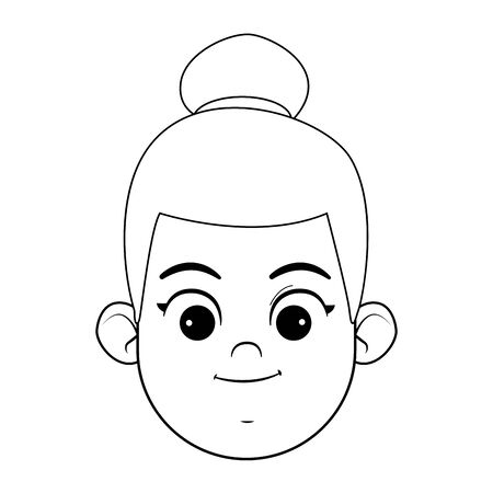 afroamerican girl with bun and smiling face avatar profile picture cartoon character portrait in black and white vector illustration graphic design