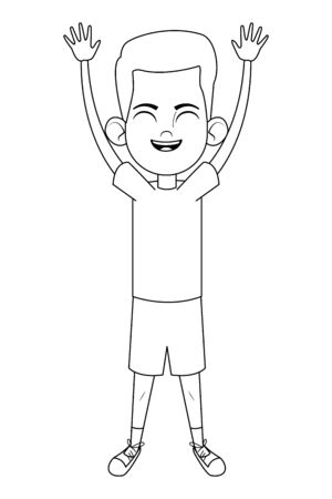 little kid boy with hands up and smiling avatar cartoon character portrait isolated black and white vector illustration graphic design