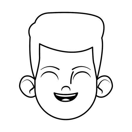 little kid smiling avatar cartoon character profile picture portrait isolated black and white vector illustration graphic design Ilustração