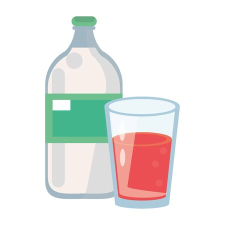 healthy drink juice nature glass with bottle cartoon vector illustration graphic design  イラスト・ベクター素材