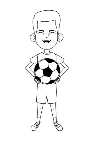 little kid boy carrying a soccer balloon and smiling avatar cartoon character portrait isolated black and white vector illustration graphic design