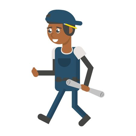 Construction worker smiling with plans cartoon isolated vector illustration graphic design  イラスト・ベクター素材