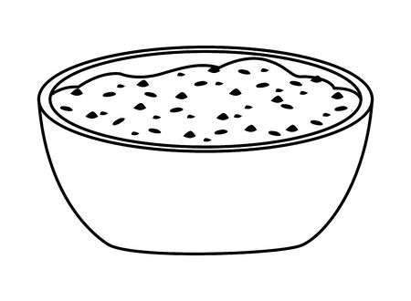 mexican food and tradicional culture with a bowl with mole sauce icon cartoon in black and white vector illustration graphic design