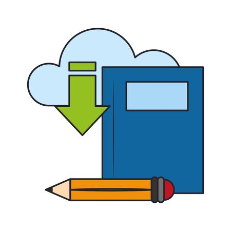 Icons of book with pencil and cloud storage with download arrow over white background, vector illustration